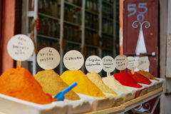 Selection of spices on a traditional Moroccan market in Marrakech, Morocco Royalty Free Stock Image