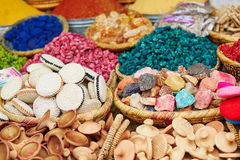 Selection of spices on a traditional Moroccan market Stock Images