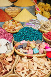 Selection of spices on a traditional Moroccan market. (souk) in Marrakech, Morocco stock photography