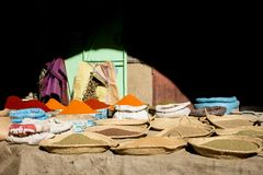 Selection of spices on a traditional souk. In Rissani, Morocco Stock Image