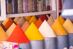 Selection of spices on a traditional souk. In Marrakech, Morocco Stock Image