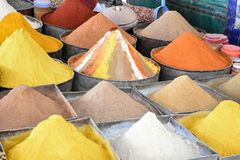 Selection of spices on a traditional souk. In Rissani, Morocco Royalty Free Stock Photography