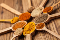 A selection of spices on wooden table Royalty Free Stock Images