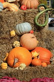 Selection of squash and pumpkins on stacks of hay Royalty Free Stock Photos