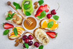 Selection of summer Colorful natural healthy snacks. Sandwiches royalty free stock images