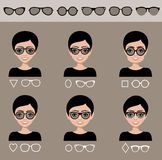 Selection sunglasses to different shapes of a face Royalty Free Stock Image