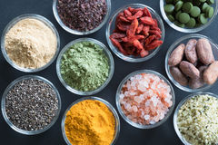 Selection of superfoods on a black background Stock Photography