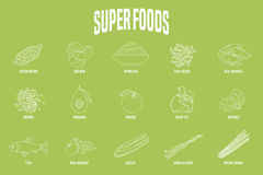 Selection of superfoods products, berries, green in vector Royalty Free Stock Photo