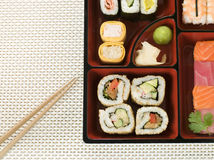 Selection of Sushi In a Bento Box Royalty Free Stock Photos