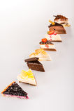 Selection sweet cake slice delicious tart Stock Photos