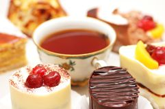 Selection of sweet cakes and t stock image