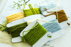 Selection of threads for embroidery in natural colors. A set of embroidery threads in natural colors on paper reels. Selective focus. Close-up royalty free stock images