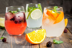 Selection of three kinds of gin tonic. With blackberries, with orange, with lime and mint leaves. In glasses on a rustic wooden background. Copy space stock photos