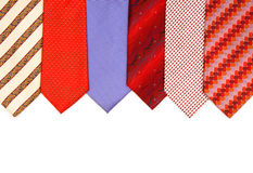 Selection of ties isolated. On the white Stock Images