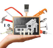Selection of tools in the shape,home improvement concept Royalty Free Stock Photo