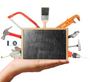 Selection of tools in the shape,home improvement concept Stock Photo