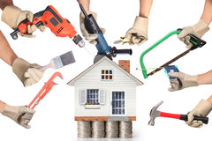 Selection of tools in the shape of a house Stock Photos