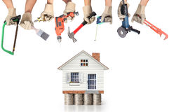 Selection of tools in the shape of a house Royalty Free Stock Photo