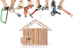 Selection of tools in the shape of a house Stock Images