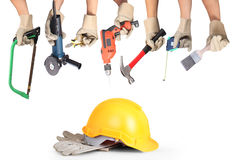 Selection of tools in the shape of a house Stock Image