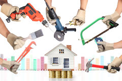 Selection of tools in the shape of a house Royalty Free Stock Photos