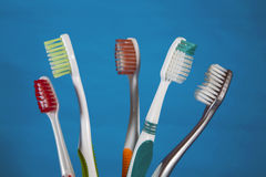 A selection of tooth brushes Royalty Free Stock Images
