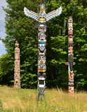 A selection of Totem Poles of the First Nation in Vancouver Royalty Free Stock Image