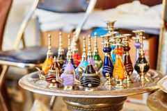 Selection of traditional bottle for perfumes on Moroccan market Stock Photo