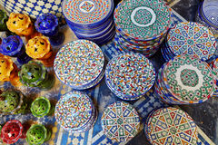 Selection of traditional ceramics on Moroccan market Royalty Free Stock Images