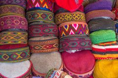 Selection of traditional hats for sale, Manali, Northern India stock image