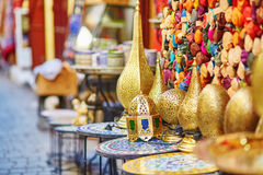 Selection of traditional lamps on Moroccan market Royalty Free Stock Photo