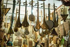 Selection of traditional musical instruments on Moroccan market in Marrakesh, Morocco stock image