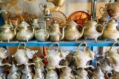 Selection of traditional teapots on Moroccan market. (souk) in Fes, Morocco Royalty Free Stock Photography