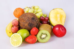 Selection tropical fruits. Several fruits arranged on still life way on white backgroud Stock Photography