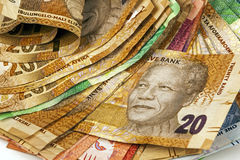 Selection of Used South African Bank Notes Stock Image