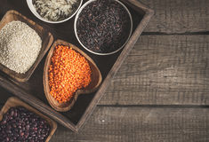 Selection of a variety of delicious and healthy cereals. Top view with copy space Stock Photo