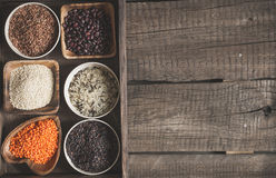 Selection of a variety of delicious and healthy cereals. Top view with copy space Stock Images