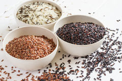 Selection of variety of gourmet rice in bowls. Selective focus Stock Image