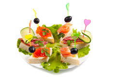 Selection of various canape Stock Photo