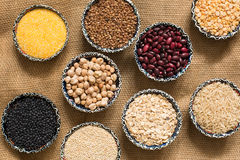 Selection of various colorful cereal top view Stock Image