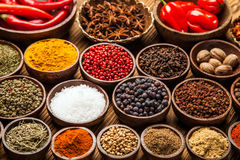 A selection of various colorful spices Stock Photos