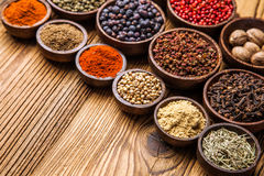 A selection of various colorful spices Stock Images