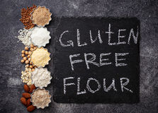 Selection of various gluten free flour. Almond, buckwheat, rice, chick peas and oat Royalty Free Stock Photography