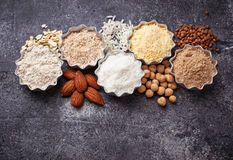 Selection of various gluten free flour. Almond, buckwheat, rice, chick peas and oat Stock Image