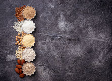 Selection of various gluten free flour. Almond, buckwheat, rice, chick peas and oat Royalty Free Stock Image