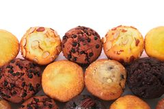 Selection of various muffin cakes top view. Selection of various muffin cakes Stock Photography