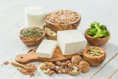 Selection vegan protein sources on wood background. Copy space Stock Photo