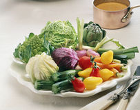 Selection of vegetables and small copper saucepan Royalty Free Stock Image