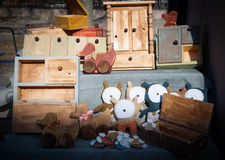 Vintage toys. Selection of vintage toys for sale at crafts market Royalty Free Stock Photography