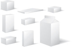 Selection of white different sized blank boxes Royalty Free Stock Photo